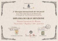 Diploma di gran menzione - Passito dolce Angelicus 2003 - punti 88,8